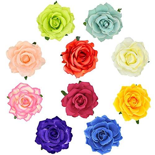 DRESHOW 5 Pack Flower Brooch Head Ornament Bride Women Rose Flower Hair Accessories Wedding Hair Clip Flamenco Dancer (10 Pack) -