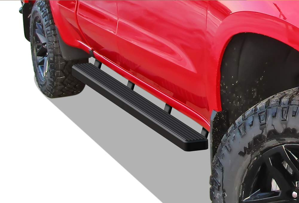 APS iBoard Running Boards (Nerf Bars | Side Steps | Step Bars) for 2019-2020 Chevy Silverado GMC Sierra 1500 Crew Cab | (Black Powder Coated 4 inches)