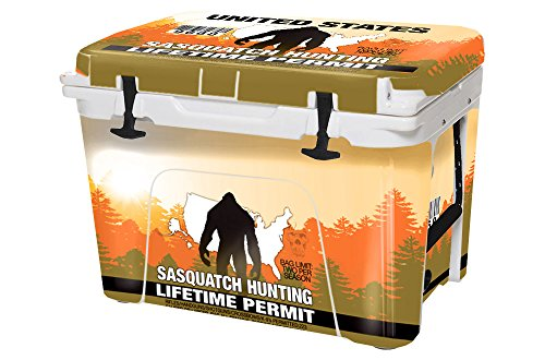 USA Tuff Thickest & Toughest Wrap 24Mil Cooler Accessories Decal for YETI 20QT Roadie Full Kit – Sasquatch Hunting Permit