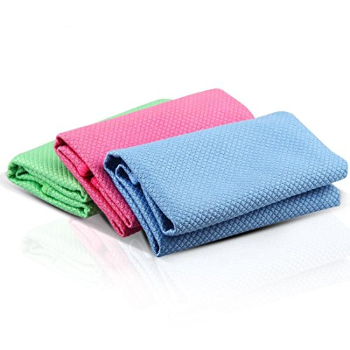 SUSEA 3 Pack Double-sided Durable and Reusable Microfiber Cleaning Dust Cloths Wipes for Stainless Steel Appliance, Glasses, Smartphones - Streak, Scratch and Lint Free (Rose Red, Blue and Green)
