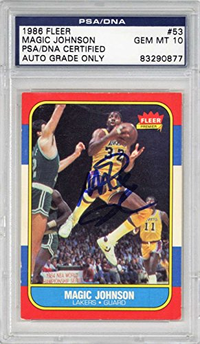 - Magic Johnson Signed Autographed 1986 Fleer Basketball Card PSA/DNA 10 Auto