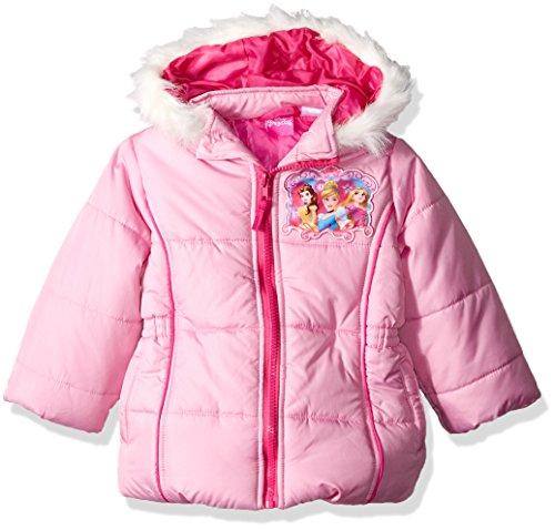 Disney Princess Jacket - Disney Girls' Little Girls' Toddler Princess Puffer Coat, Pink, 3T
