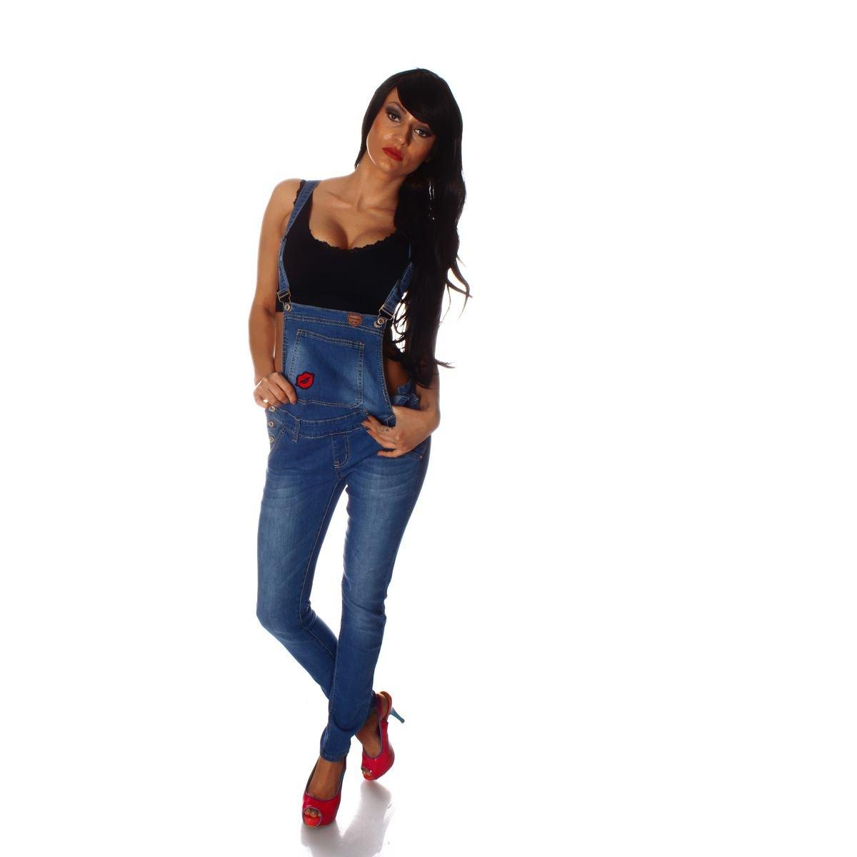 Fashion4Young 10696 Damen Latzhose Hose Pants mit Tr/äger R/öhren Jeans Overall Jeanshose Tr/ägerhose