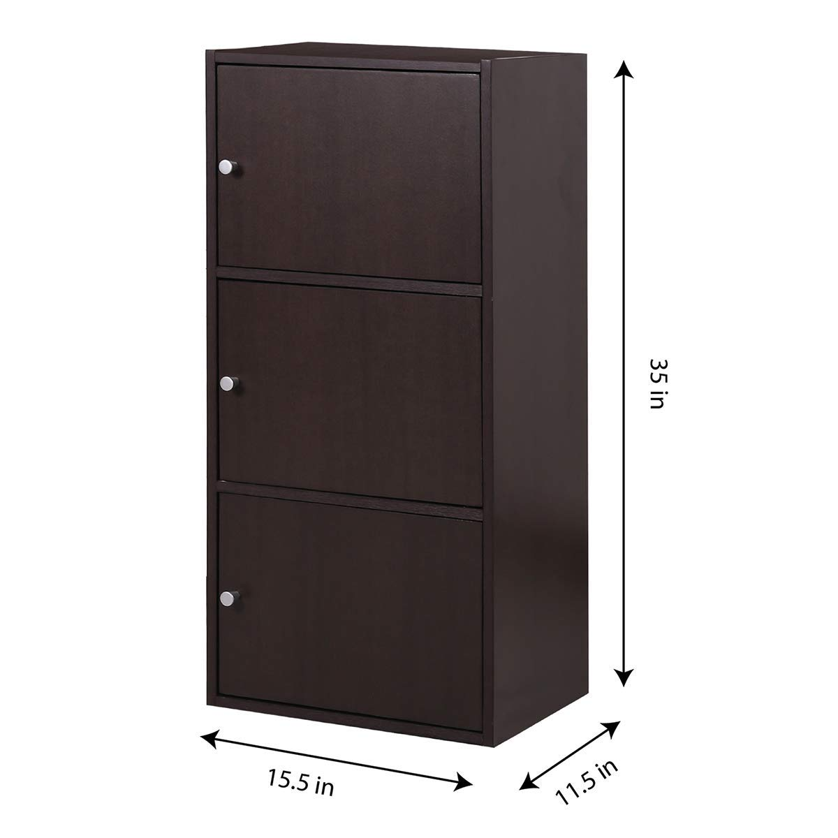 Multifunctional Storage-Cabinet with 3 Magnetic Doors Classic Modern Bookcase Home Office Vertical File Cabinets, Espresso Brown-CAS011 by Coavas (Image #4)