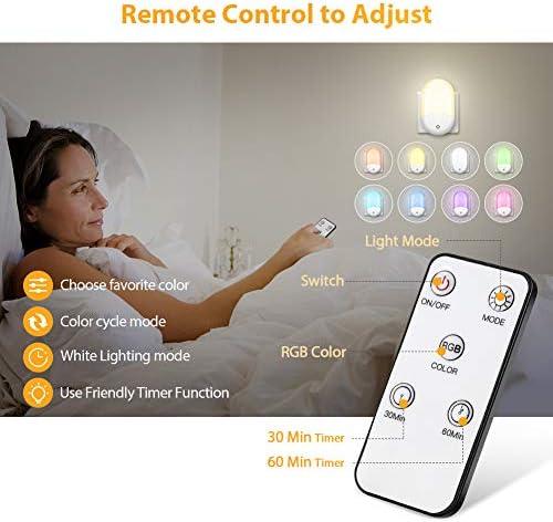 Schlafzimmer Badezimmer LED Nachtlicht Steckdose Automatisch D/ämmerungssensor Led Nachtlicht Kind f/ür Kinderzimmer Mehrfarbige Farbwechsel Dimmable LED Nachtlicht Baby mit Fernbedienung