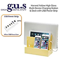 Great Useful Stuff High Gloss Harvest Yellow Multi-Charging Station with 4-Port USB Power Strip