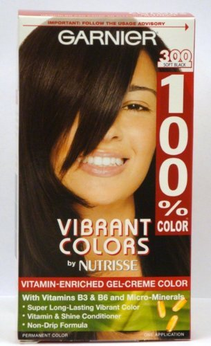 Garnier Nutrisse couleurs vibrantes Par vitaminé Gel-crème Couleur des cheveux # 300 Soft Black (pack de 2)