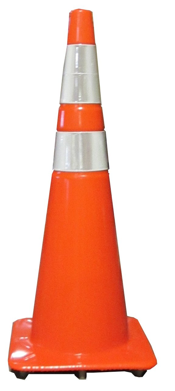 Work Area Protection 36PVCS-R Polyvinyl Chloride Standard Recessed Traffic Cone with 6'' and 4'' VSB Reflective Collars, 10-1/2'' Diameter x 36'' Height, Fluorescent Orange