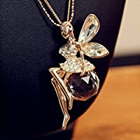 khamchanot Fashion Crystal Shiny Fairy Angel Wing Pendant Necklace Long Sweater Chain Gifts