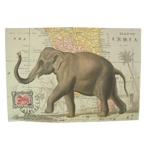 Elephant on Map of India Vintage Poster Print