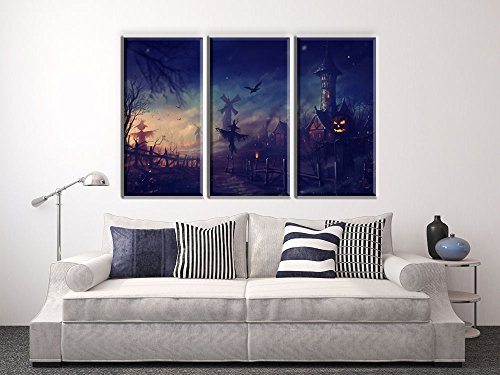 NAN Wind Golden Pumpkin Lantern Scarecrow at Haunted Castle Haunted House Painting Halloween Wall Art Painting Pictures Festival Art Print Print On Canvas Art The Picture For Home Modern Decoration