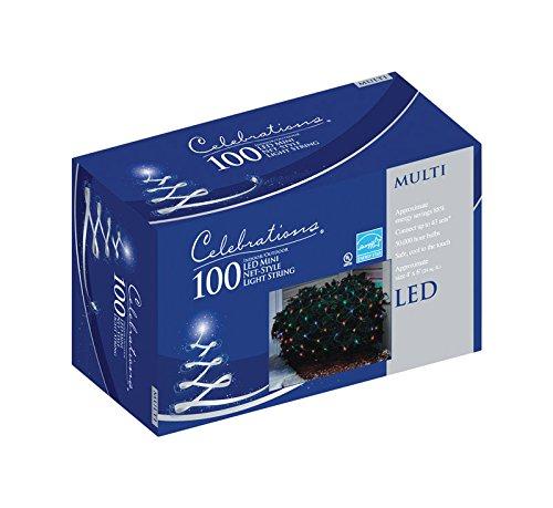 Led Net Lights - Celebrations Indoor/Outdoor LED Net Lights, 4' L x 6' W, 100 Multi-Color Lights