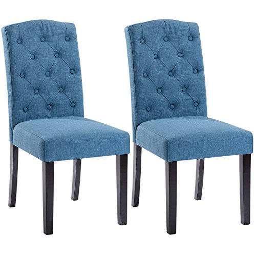 Giantex Set of 2 Linen Fabric Wood Accent Dining Chair Tufted Modern Living Room (Blue) (Blue Accent Chairs For Living Room)