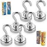 Treats&Smiles Powerful 6 Pack Heavy Duty Neodymium Magnetic Hooks...