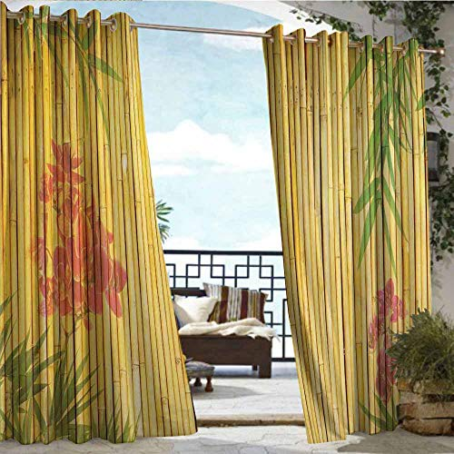 Thermal Insulated Blackout Curtains,Bamboo,Lotus Flower and Bamboo Background on Stems Tropical Plant Oriental Art Print,Red Green Gold,Outdoor Curtain for Patio Waterproof 63