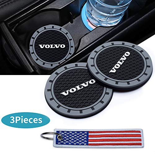 Kaolele 3Inc Tough Car Logo Vehicle Travel Auto Cup Holder Insert Coaster Can for Volvo All Models with USA Flag Key Chain