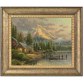f1ea70df9bb Thomas Kinkade Lakeside Hideaway 16 x 20 Brushstroke Vignette (Burnished  Gold)