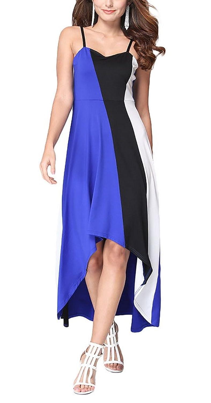 Aivtalk Damen Casual Party Maxi Ohne Ärmel Hohe Taille Asymmetrisches Kleid mit Trägern - Gestreift Blau & Weiß & Schwarz