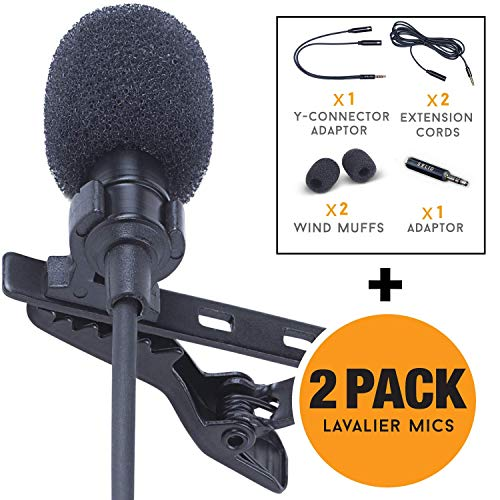 Lavalier Lapel Microphone 2-Pack Complete Set - Omnidirectional Mic for Desktop PC Computer, Mac, Smartphone, iPhone, GoPro, DSLR, Camcorder for Podcast, Youtube, Vlogging, and DJs