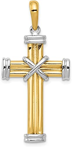 14k Yellow with White Rhodium Two-tone Gold Fleur de Lis Crucifix Pendant