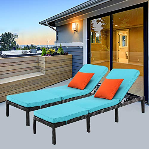 HTTH 2pcs Patio Furniture Outdoor Rattan Chaise Lounge Chairs with Cushion (503-EXP-TRQ)