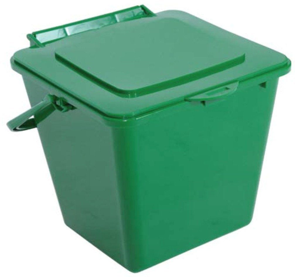 RTS Home Accents KC1000 Kitchen Compost Bin, Solid Lid Only No Filter, Green