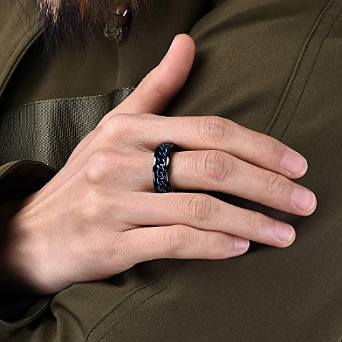 vivid rings men inlay black link mens ring stainless chain steel s