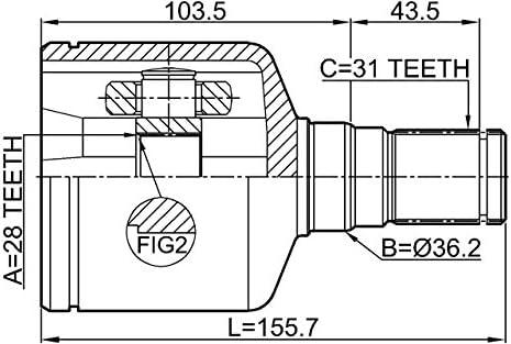 Inner Joint Left Febest 2111-AWF21LH Oem 1481247