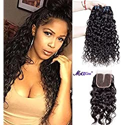 9A Brazilian Virgin Hair Bundles with Closure Water Wave 3 Bundles With Middle Part Closure Wet And Wavy Virgin Human Hair Weave Natural Color, Shedding and tangles free(14 16 18 with 12)
