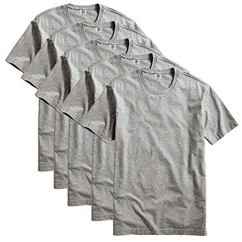 Kit com 5 Camiseta Masculina Básica Algodão Premium (Cinza, M)