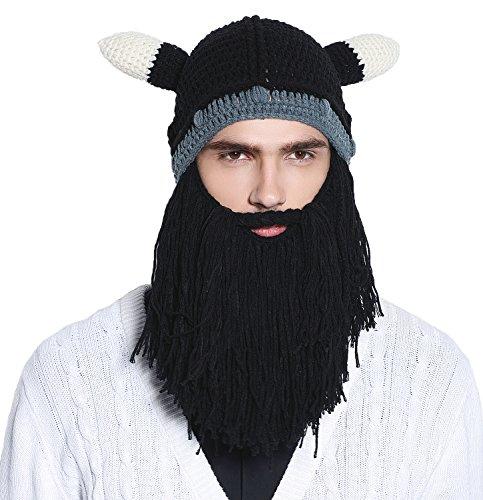 f5d9154bb073 Men Knit Viking Beard/Mustache Hat Beanie, Black Beard - Import It All