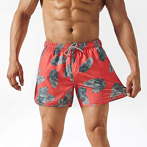 Trunks Swim Hawaiian Lined (MaaMgic Mens Boys Short 80s 90s Vintage Swim Trunks with Mesh Lining 4 Way Stretch 5'' Inseam Quick Dry Swimming Trunks Bathing Suits 5'')