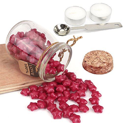 Wine Red Sealing Wax Beads, Yoption Approximately 120 Pieces Lucky Star Shape Wax Seal Beads with 1 Piece Wax Melting Spoon and 2 Pieces Candles for Wax Seal Stamp (Wine Red)