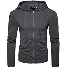 Blouse for Men, Forthery Men's Fashion Active Lightweight Slim Zipper Hoodies Jacket Coat (Dark Gray, US S = Asia M)