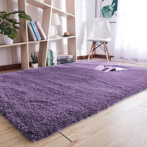 - Noahas Super Soft Modern Shag Area Rugs Fluffy Living Room Carpet Comfy Bedroom Home Decorate Floor Kids Playing Mat 4 Feet by 5.3 Feet, Gray-Purple