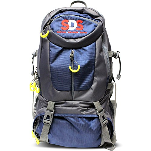 SDS Hiking & School Backpack Travel Bag for Men & Women - Large Camping Survival Water Resistant Nylon Outdoor Daypack