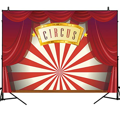 Mehofoto Circus Photography Backdrops Red Curtain Magic Circus Stage 7x5ft Vinyl Photo Booth Backdrop Carnival Children Adults Baby Birthday Party -