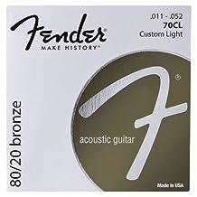 Fender Accessories 073-0070-408 80/20 Bronze Acoustic Guitar Strings, Medium