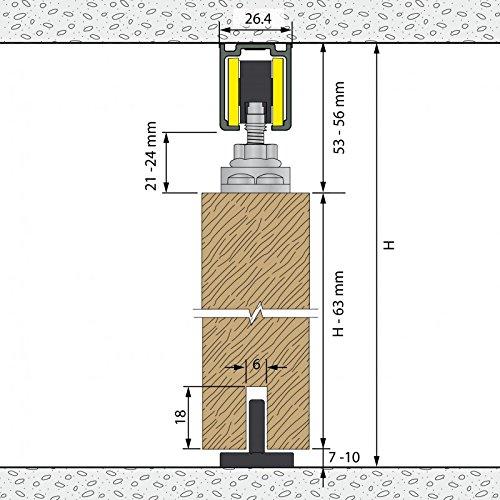 2 T/üren bis je 80 kg Laufschiene 2x155 cm Holzt/üren f/ür Durchgangst/üren Schiebet/ürbeschlag SLIDUP 1100