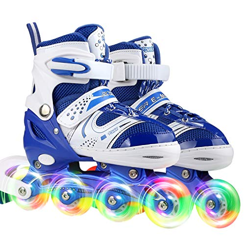JIFAR Youth Children's Inline Skates for Kids, Adjustable Roller Blades with Light Up Wheels for Girls Boys, Indoor&Outdoor Ice Skating Equipment Small Size(12J-2 US), Blue