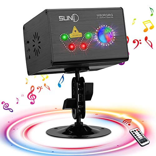 Party Laser Lights SUNY Hardwired Sound Activated Light RG Multiple Patterns Projector Galaxy LED Ripple Wave Projector Indoor Decorative DJ Lights For Xmas Disco Decor Holiday Event Laser Light Show