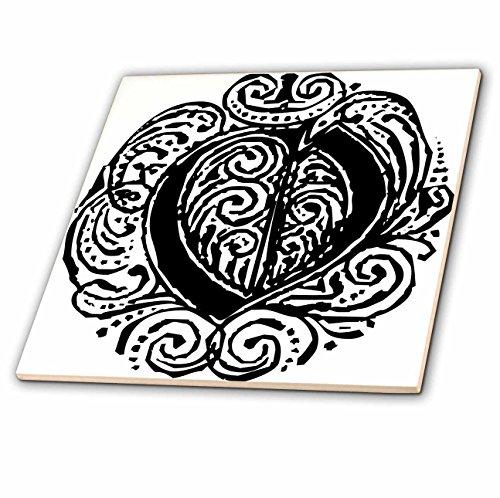 - 3dRose Sandy Mertens Monograms - Fancy Letter O - 12 Inch Ceramic Tile (ct_14223_4)