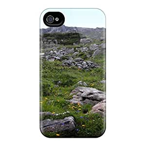 Durable Grass Stone Back Case/cover For Iphone 4/4s