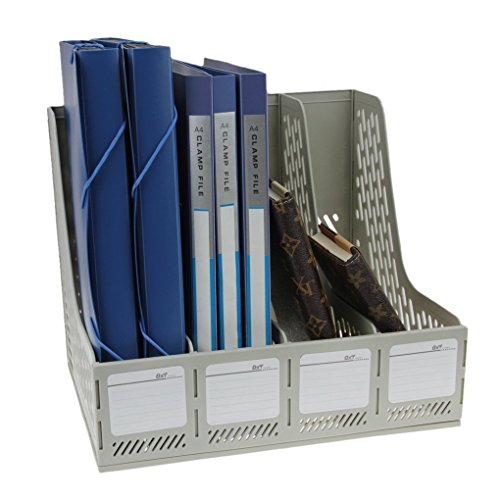 Magazine Holder Heavy Duty Four Sections File Rack Paper Magazine Holder Home Office Desk Book Sorter Storage Hanger Tidy Dispay Bin Desktop Shelf File Dividers Cabinet Document Tray Organizer ()