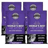 World's Best Cat Litter 14 lbs Natural Lavender Scented Clumping Formula Multiple Cat Litter, 4 Pack