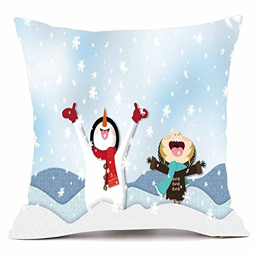 (Zalanala Merry Christmas Pattern Decorative Square Throw Pillow Covers Home Decor Design Super Cashmere Cushion Case for Sofa Bedroom Car 45 x 45 cm)