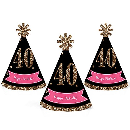 Chic 40th Birthday - Pink, Black and Gold - Mini Cone Birthday Party Hats - Small Little Party Hats - Set of 10 by Big Dot of Happiness