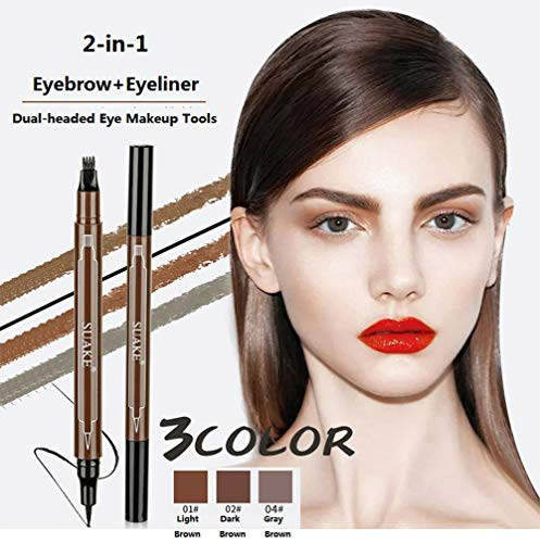 Eyebrow Pencil and Eyeliner Pen 2-in-1, Stay All Day Waterproof Smudge-Proof Natural Hair-Like Defined Four-Tips Internet Celebrity Tattoo Eyebrow Pen for Newbie (2#Dark Brownp)