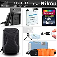 16GB Accessories Kit For Nikon COOLPIX AW120, AW110, AW130, W300 Waterproof Digital Camera Includes 16GB High Speed SD Memory Card + Replacement EN-EL12 Battery + AC/DC Charger + Case + FLOAT STRAP +