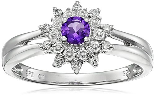 Sterling Silver Amethyst and Diamond Star Halo Ring (1/10 cttw, I-J Color, I2-I3 Clarity), Size - Diamond Rhodium Star